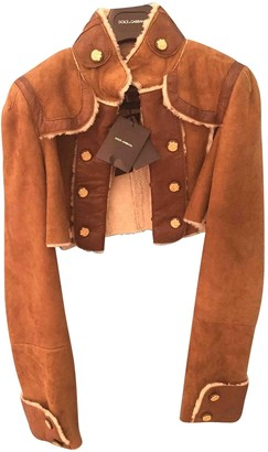 Dolce & Gabbana Beige Shearling Leather Jacket for Women