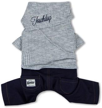 Touchdog Vogue Neck-Wrap Sweater & Denim Outfit - Gray - Medium