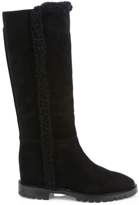 Aquatalia Cheyenne Knee-High Shearling-Trimmed Suede Boots