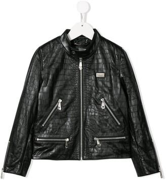 Philipp Plein Junior Statement Moto leather jacket