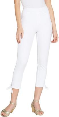 Isaac Mizrahi Live! Regular Knit Denim Crop Jeans with Tie Detail
