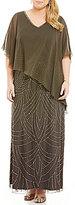 J Kara Plus Beaded Chiffon Capelet Gown