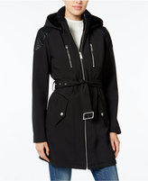 BCBGeneration Faux-Leather-Trim Belted Raincoat