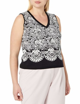 Rachel Roy Women's Plus Size Fitted Jacquard Crop Top