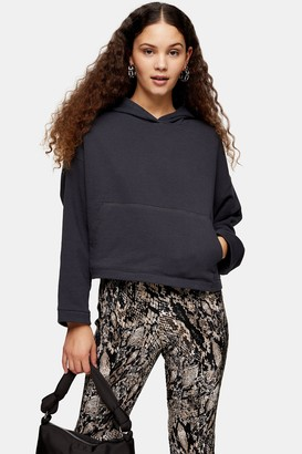 Topshop Womens Cropped Boxy Hoodie - Charcoal