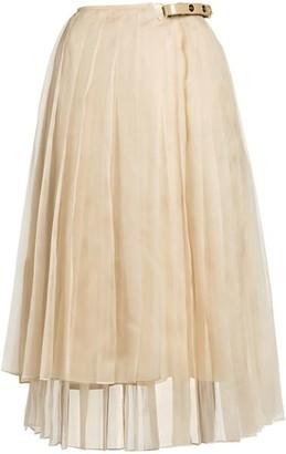 Fendi Pleated Organza Asymmetric Wrap Skirt