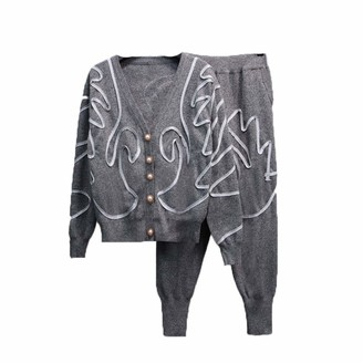 Wkd Thvb wkd-thvb Autumn Winter Embroidery Swan Loose Knitted Cardigan Sweater + Harem Pants Sweatpants Set Female Gray S