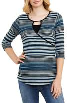 Maternal America Women's Stripe Crossover Maternity/nursing Top