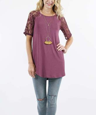 Lydiane Women's Tunics EGGPLANT - Eggplant Crewneck Lace-Sleeve Curved-Hem Tunic - Women & Plus