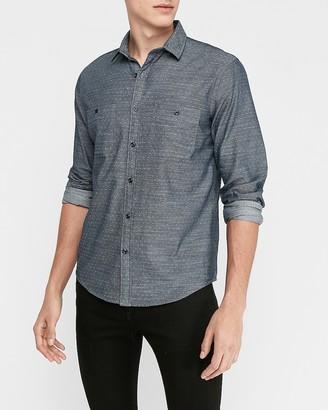 Express Slim Chambray Jacquard Dot Soft Wash Shirt