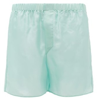 Ludovic De Saint Sernin - Elasticated-waist Silk-satin Shorts - Mens - Blue