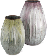 Vintage Dripping Two-Piece Corrugate Metal Vase Set