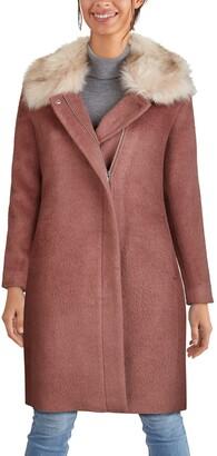 Cole Haan Faux Fur Trim Wool Blend Coat