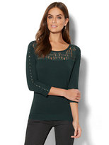 New York & Co. 7th Avenue Design Studio - Lace-Accent Studded Sweater