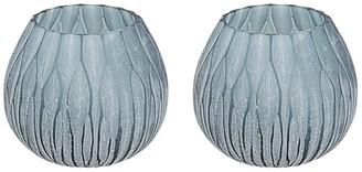 "Aspen Creative Corporation Aspen Creative Blue Glass Votive Candle Holder 4"" Diameter x 3-1/2"" Height, 2 Pack"