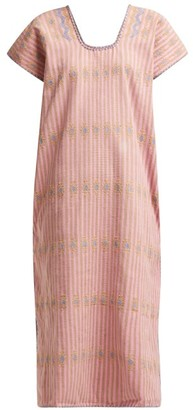 Pippa No.112 Embroidered Cotton Kaftan - Pink Multi
