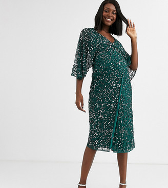 Maya Maternity Bridesmaid delicate sequin wrap midi dress in green