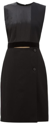 Burberry Pleated Silk-satin And Wool Shift Dress - Black Multi