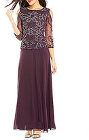 Pisarro Nights Beaded Bodice Cold Shoulder Gown