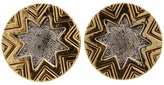 House Of Harlow Two-Tone Engraved Sunburst Stud Earring