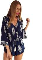 Gaosa Women's Floral Print Casual Beach Rompers Shorts Deep V-neck Blouse brittany