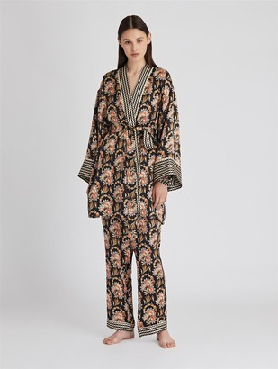 Oscar de la Renta Tapestry Floral Satin-Crepe Robe