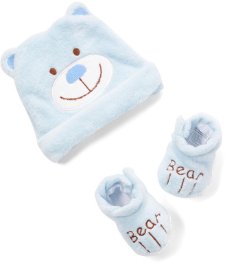Sweet & Soft Infant Booties and Crib Shoes Blue - Blue Bear Hat & Booties - Kids
