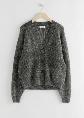 And other stories Oversized Wool Blend Melange Cardigan