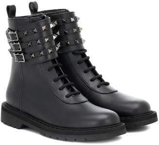Valentino Garavani Rockstud Combat leather ankle boots