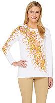 Bob Mackie Bob Mackie's Long Sleeve Floral Printed Pullover Sweater
