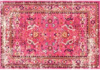 nuLoom Casablanca Anabel Distressed Framed Floral Rug