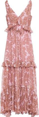Diane von Furstenberg Metallic Fil Coupe Printed Silk-blend Maxi Dress
