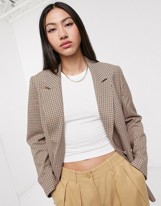 Selected double breasted blazer in tan check-Multi