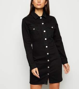 New Look Petite Long Sleeve Denim Bodycon Dress
