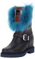 Fendi Tall Hidden Wedge Fur Boot, Black