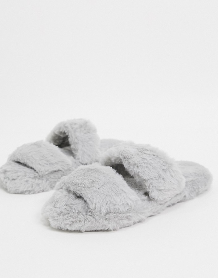 ASOS DESIGN Zhuji double strap scuff slippers in gray