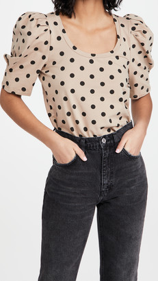 ENGLISH FACTORY Dotted Puff Sleeve T-Shirt