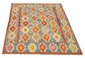 "Blue Area World Menagerie One-of-a-Kind Lechiaro Bold And Colorful 5'5"" x 8'3"" Wool Kilim Rug World Menagerie"