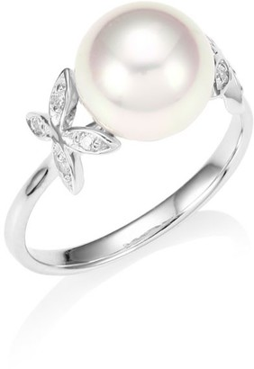 Majorica Silver 9mm Round Pearl & Crystal Butterfly Ring