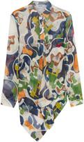 MSGM Asymmetric printed silk-chiffon blouse