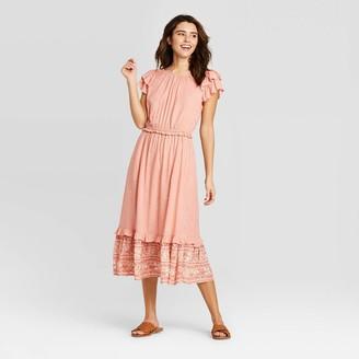 Universal Thread Woen's Floral Print Short Sleeve Ruffle Dress - Universal ThreadTM