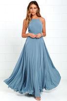 LuLu*s Mythical Kind of Love Slate Blue Maxi Dress