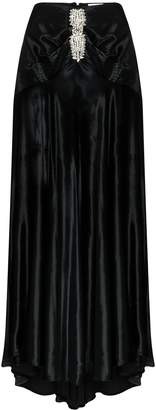 Paco Rabanne crystal-embellished flared maxi skirt