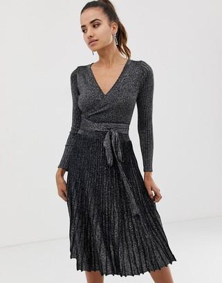 Morgan pleated wrap front midi dress in silver