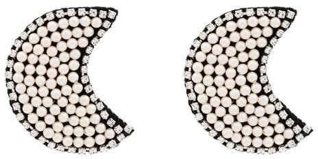 Venessa Arizaga white Dancing In The Moonlight crystal and pearl earrings