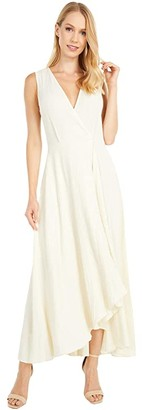 Calvin Klein Surplus Neck High-Low Dress (Wheat) Women's Dress