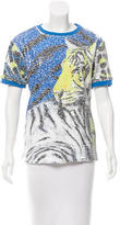 Just Cavalli Sequined Graphic Print Top w/ Tags