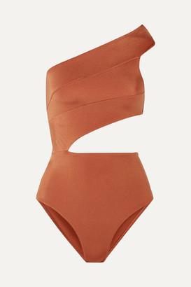 OYE Swimwear - Veronique Cutout One-shoulder Swimsuit - Brown