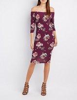 Charlotte Russe Floral Off-The-Shoulder Midi Dress