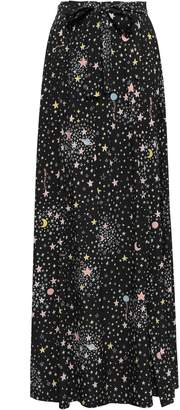 Moschino Lace-up Printed Stretch-silk Maxi Skirt